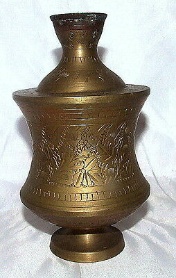 MIDDLE EASTERN ANTIQUE ISLAMIC BRASS PERFUME BOTTLE, VESSEL BOWL ENGRAVED