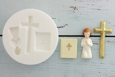 Silicone Mould Communion, Christening, Bible, Cross   Ellam Sugarcraft M034