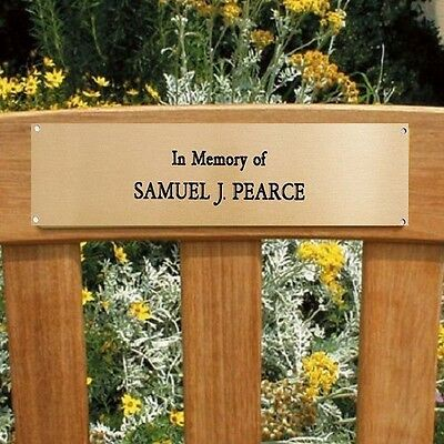 """Engraved Brass Plaque Plate Memorial Sign Bench Pet 6"""" X 2"""" Office"""