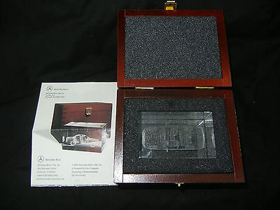 Mercedes Benz S-Class 3D Car Crystal Paperweight and Wood Box Rare