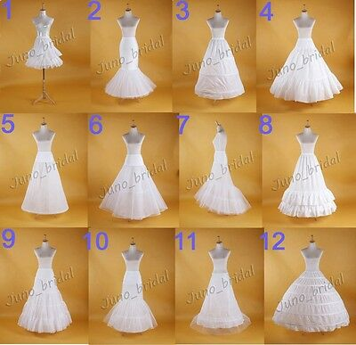 White Wedding Hoop Petticoat Bridal Slip Crinoline Multi Hoop Skirt Size XS - XL