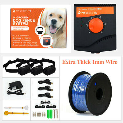 Waterproof rechargeable invisible 3 dog electric fence system pet containment