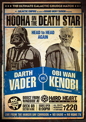 Darth Vader vs Obi Wan Kenobi Repro Fight Poster
