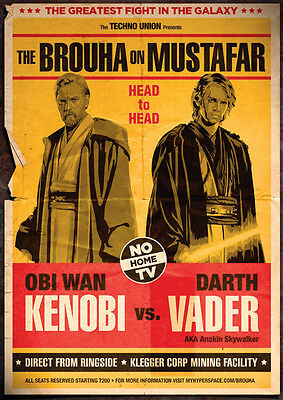 Obi Wan Kenobi vs Darth Vader Star Wars  Repro Fight Poster