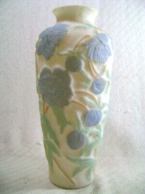 Vintage Antique Consolidated Phoenix Glass Blue Green Floral Flower Cameo Vase