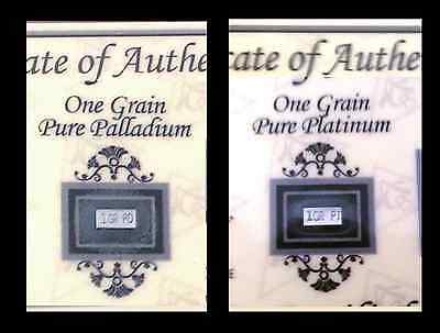 ACB  Platinum and Palladium 1GRAIN Bullion Bars w/ Certificate of Authenticity