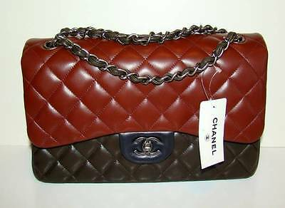 CHANEL New with Tags 13A Edgy Tri-Color Lamb Jumbo Flap with Gunmetal Hardware