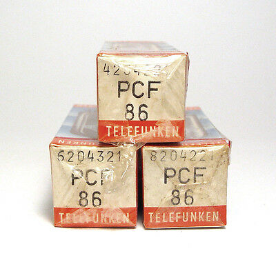 3x Telefunken PCF86 / PCF 86 Röhre, Cellophaniert / Sealed NOS