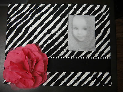 *NEW*  Baby Girl Pink/ Black Memory Keepsake Book with photo frame and pearls