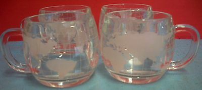 Set of 4 Nestle Glass Globe World Map Mugs Cups Etched Frosted Heavy Cocoa Tea
