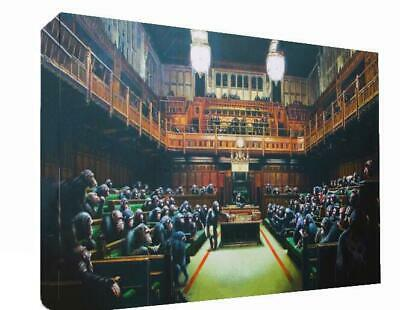 Banksy Graffiti Monkey's In Parliament Canvas Wall Art Print Photo Picture