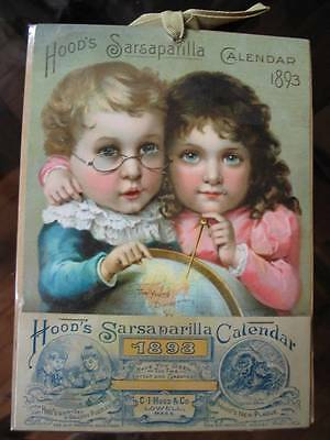 HOOD'S SARSAPARILLA Calendar 1893 Young Discoverers Complete New Old Stock