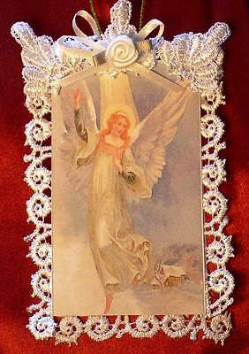 New Handmade Vintage Style Victorian Christmas Card Tree Ornament - Angel Light