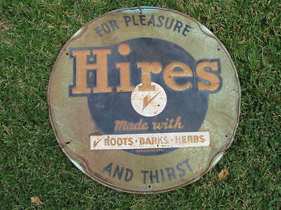 Old Vintage Round Hires Root Beer Sign For Pleasure And Thirst