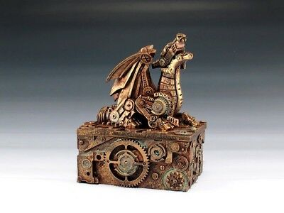 "Steampunk Dragon Jewelry Trinket Box 5"" Height Cyborg Robot Copper Finish"