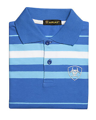 ARIAT - Boy's Polo Shirt - Blue / Turquoise / White Stripe - ( PLO2002 ) - New