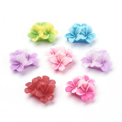 20pcs Pretty Mixed Flatback Resin Flower Cabochons Clothes DIY Ring Pad Finding
