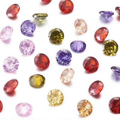 50PCS Mixed Color Diamond Shape Cubic Zirconia Cabochons Faceted Ring Blank Bead