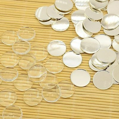 10Sets DIY Making Brass Glass Clear Cabochons Settings Pendant Tray Photo Insets