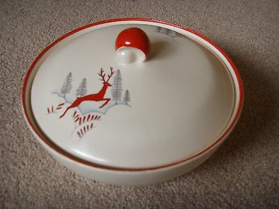 Crown Devon Stockholm (leaping deer) covered dish