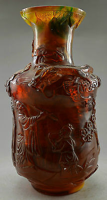 Collectible Decorated Old Amber Carved Dragon Immortal Big Vase (Mouth Broken)