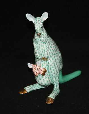 Herend Hungary Green & Orange Fishnet with Gold Kangaroo with Joey in Pouch