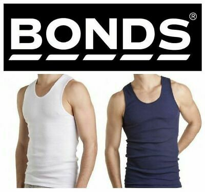 Bonds 3 Pack White Navy Chesty Cotton Singlets Underwear Men's Mens Singlet Tee