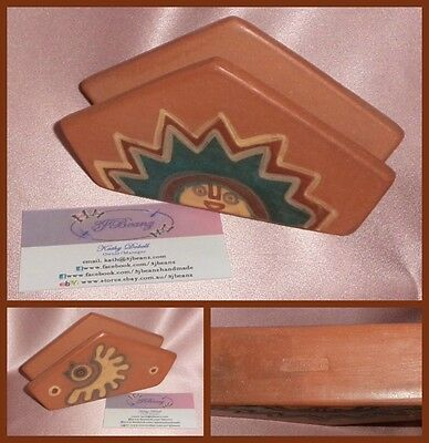 Vintage ~ Pottery hand Painted Napkin Letter Holder ~ Estate Collectable