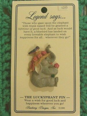 Luckyphants. Good Luck Pin Elephant holding Flower # 1253 HARD TO FIND!