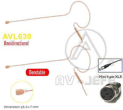 2pcs Tan Headset Mic Single Mini Headset Compatible to Shure_Omni-Directional