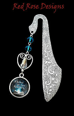 ~I Read My Own Reality, Blue Crystal Quote Metal Bookmark~