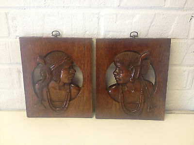 Likely Vintage Pair of Mahogany Carved Wood Wall Hangings of Ethnic Figures