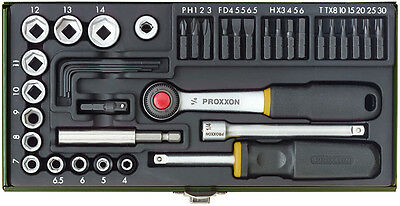 Proxxon Industrial Metric 4-14 1/4'' Ratchet 39 Piece Set With Magnetic Adapter