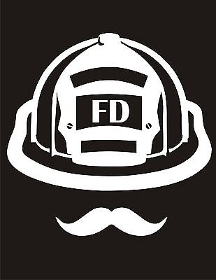 Red Mustache Maltese Window Decal Various sizes Free Ship Firefighter Decal