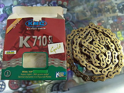 """Kmc K710Sl Fixed--Bmx Bicycle Gold 1/2"""" X 1/8""""--100 Links Chain"""