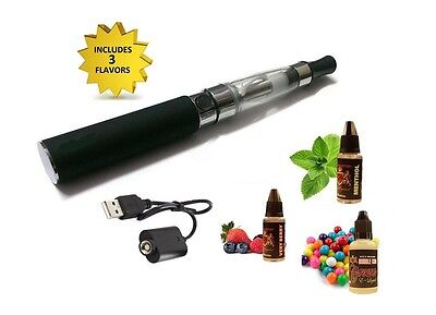 Black Rechargeable Vaporizer with Flavored E-Liquid Bundle *3 Flavors INCLUDED*