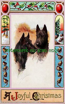 Art Nouveau Border~Bells~Holly~Scottish Terrier Dogs~NEW Christmas Note Cards
