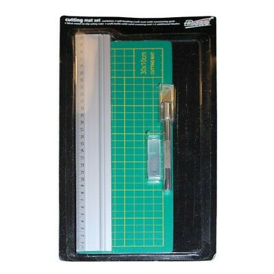 30x10cm Cutting Mat Set with Knife, 3 Blades and 30cm Steel Cutting Ruler