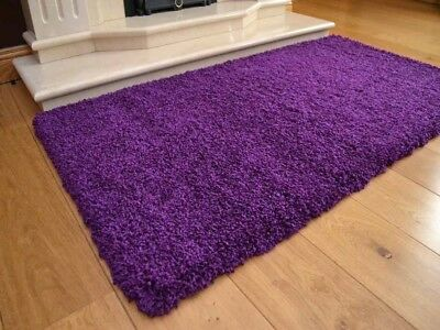 Purple Shaggy Rug Super Soft Thick 50 mm High Pile Non Shed Stain Resistant