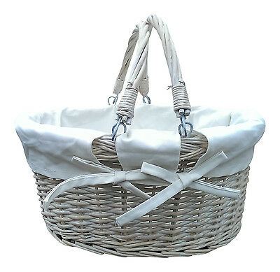 White Wash Willow Wicker Basket Handles Lining Pamper Hamper Baby Picnic Craft