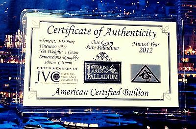 ACB Palladium 99.9 Pure 1 GRAM COA Precious Metal Very Rare Bullion PD Bar. $