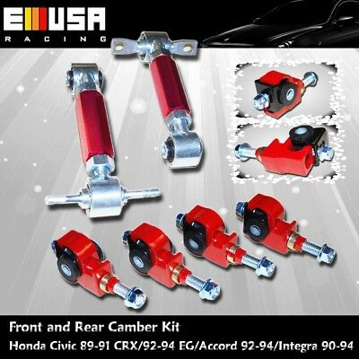 88-95 Civic 88-91 CRX 93- 97 Del Sol 94-01 Acura Integra F& R Camber kit RED