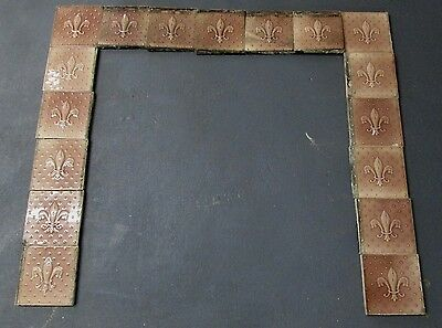 FINE ANTIQUE SURROUND TILE SET W/ RARE FLUER- DE- LIS DESIGN NEW YORK ESTATE # 3