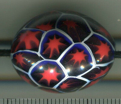 Vintage Venetian glass beads 1 very large rare red cobalt color oval millefiori