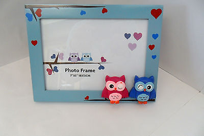 Owl Photo Frame-Pink and Blue Brand New