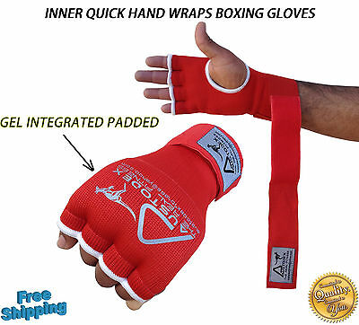 Austodex Fist Gel Bandages MMA boxing Inner Quick Hand Wraps Gloves straps red