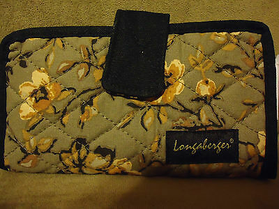 Longaberger Khaki Floral Quilted Checkbook Cover--NEW!