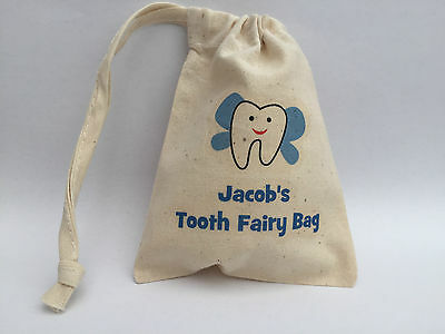 Personalised Tooth Fairy Bag - Tooth with wings design 10x13cm