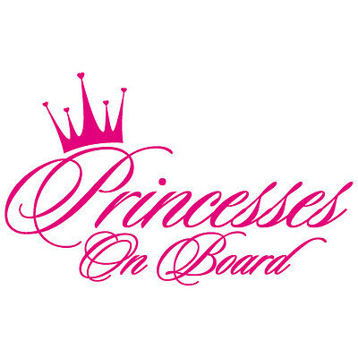 PRINCESSES ON BOARD GIRLS SISTERS BABY CROWN HEART VINYL DECAL STICKER (PC-03)