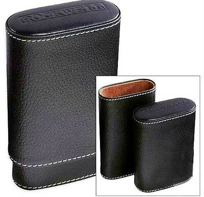 Rockwell 3 Finger Cigar Case, Black - Super Soft Leather, Telescoping ~ NEW ~